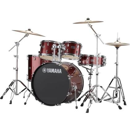 """Yamaha Rydeen 5-Piece Drum Set with SABIAN Cymbal Set and Hardware - 22"""" Kick - Burgandy Glitter *Crazy Sales Promotion*"""