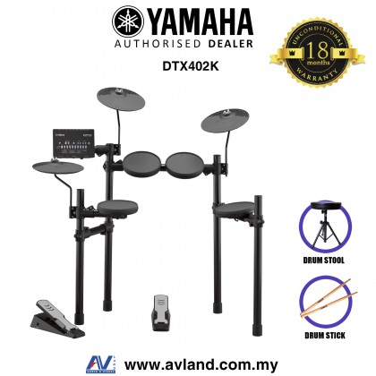 Yamaha DTX402K Electronic Drum Set with FREE Drum Stool and Drum Stick (DTX-402K/DTX 402K) *Crazy Sales Promotion*