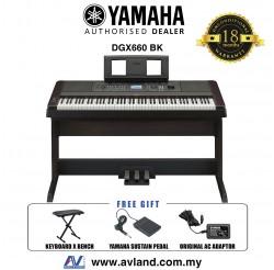 Yamaha DGX-660 Digital Piano Black with Keyboard Bench (DGX660 / DGX 660)