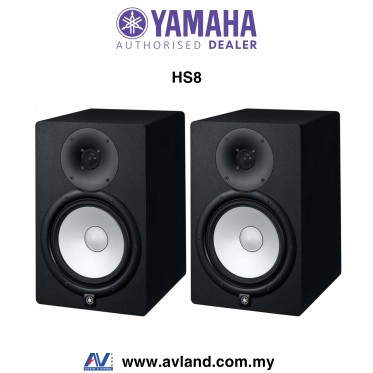 Yamaha HS8 8-Inch Powered Studio Monitor Speaker - Black Pair (HS-8)