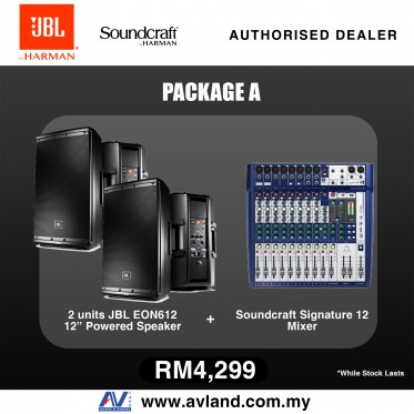 JBL EON612 1000W 12 Inch Powered Speaker Pair & Soundcraft Signature 12 12-Input Mixer with Effects Package (EON 612 / Signature12)