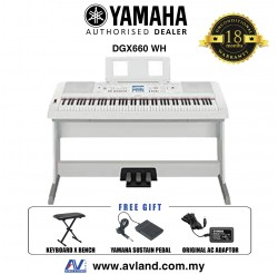 Yamaha DGX-660 Digital Piano White with Keyboard Bench (DGX660 / DGX 660)