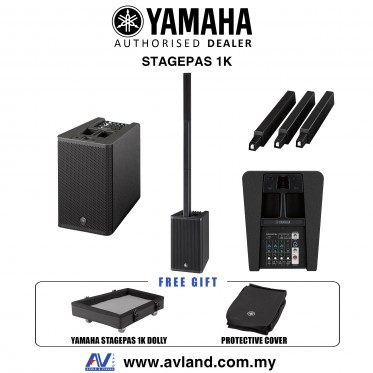 Yamaha Stagepas 1K 1000-Watt Bluetooth Portable PA System with Cover and Dolly (Stagepas1K)