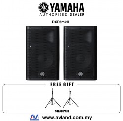 Yamaha DXR8 mkII 1100-Watt 8 inch Powered Speaker with FREE Speaker Stands - Pair (DXR-8/DXR 8)