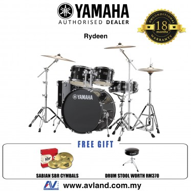 "Yamaha Rydeen 5-Piece Drum Set with SABIAN Cymbal Set and Hardware - 22"" Kick - Black Glitter *Crazy Sales Promotion*"