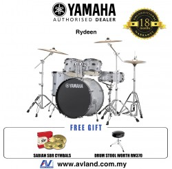 "Yamaha Rydeen 5-Piece Drum Set with SABIAN Cymbal Set and Hardware - 22"" Kick - Silver Glitter *Crazy Sales Promotion*"