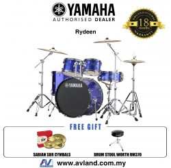 "Yamaha Rydeen 5-Piece Drum Set with SABIAN Cymbal Set and Hardware - 22"" Kick - Fine Blue *Crazy Sales Promotion*"
