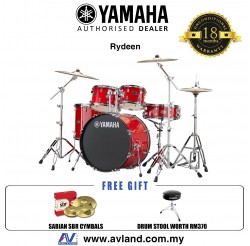 "Yamaha Rydeen 5-Piece Drum Set with SABIAN Cymbal Set and Hardware - 22"" Kick - Hot Red *Crazy Sales Promotion*"