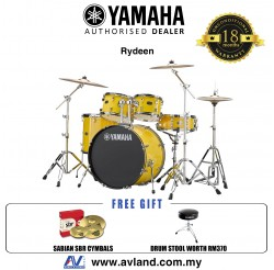 "Yamaha Rydeen 5-Piece Drum Set with SABIAN Cymbal Set and Hardware - 22"" Kick - Mellow Yellow *Crazy Sales Promotion*"