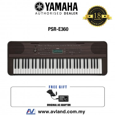 Yamaha PSR-E360 61-Keys Portable Keyboard - Dark Walnut (PSRE360 / PSR E360)