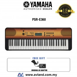 Yamaha PSR-E360 61-Keys Portable Keyboard - Maple (PSRE360 / PSR E360)