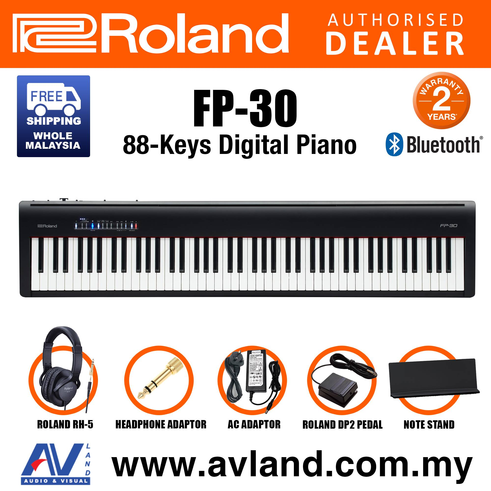 Roland Fp 30 88 Key Digital Piano Musician Package With Rh 5 Headphone And Dp 2