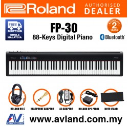 Roland FP-30 88-key Digital Piano Musician Package with RH-5 Headphone and DP-2 Pedal - Black (FP30 FP 30)