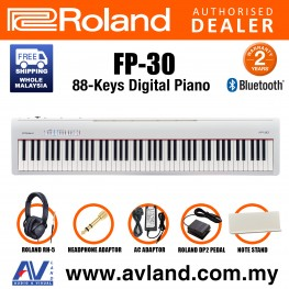 Roland FP-30 88-key Digital Piano Musician Package with RH-5 Headphone and DP-2 Pedal - White (FP30 FP 30)