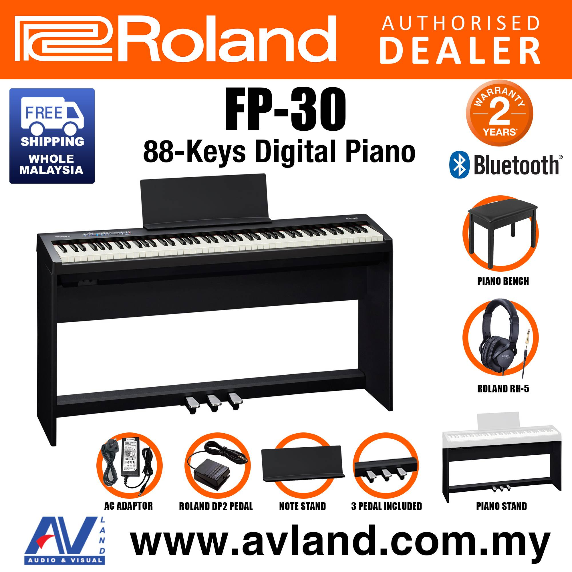 Roland Fp 30 88 Key Digital Piano Home Package With Piano Bench Rh 5 Headphone Pedals