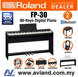 Roland FP-30 88-key Digital Piano Home Package with Piano Bench, RH-5 Headphone, Pedals and Piano Stand - Black (FP30 FP 30)