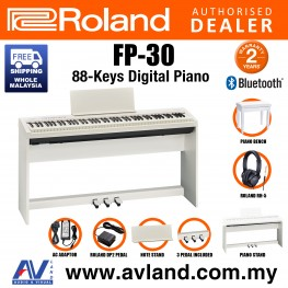 Roland FP-30 88-key Digital Piano Home Package with Piano Bench, RH-5 Headphone, Pedals and Piano Stand - White (FP30 FP 30)