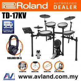 Roland TD-17KV V-Drums Digital Drum Electronic Drum with RH-5 Headphone, Kick Pedal, Drum Throne and Drumsticks (TD17KV / TD 17KV)