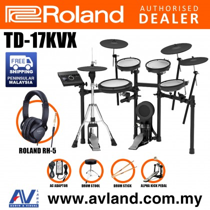Roland TD-17KVX V-Drums Digital Drum Electronic Drum with RH-5 Headphone, Kick Pedal, Drum Throne and Drumsticks (TD17KVX / TD 17KVX)
