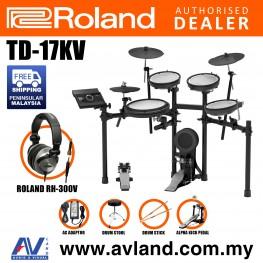 Roland TD-17KV V-Drums Digital Drum Electronic Drum with Roland RH-300V Headphone, Kick Pedal, Drum Throne and Drumsticks