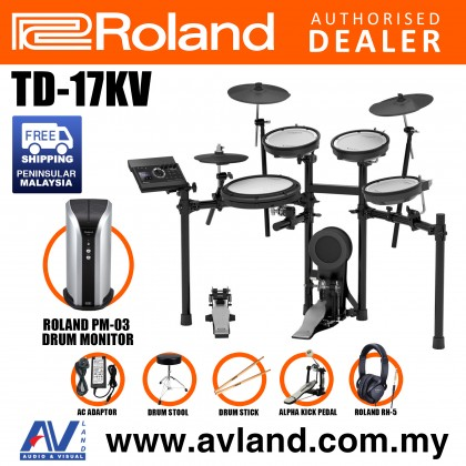 Roland TD-17KV V-Drums Digital Drum Electronic Drum with Roland PM-03 Drum Monitor, RH-5 Headphone, Kick Pedal, Drum Throne and Drumsticks (TD17KV / TD 17KV)