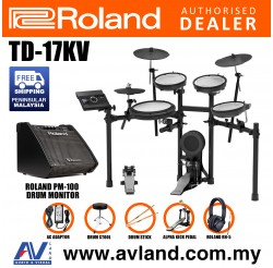Roland TD-17KV V-Drums Digital Drum Electronic Drum with Roland PM-100 Amplifier, RH-5 Headphone, Kick Pedal, Drum Throne and Drumsticks (TD17KV / TD 17KV)