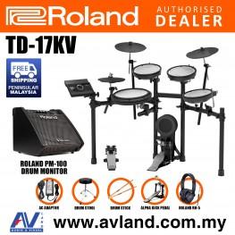 Roland TD-17KV V-Drums Digital Drum Electronic Drum with Roland PM-100 Amplifier, RH-5 Headphone, Kick Pedal, Drum Throne and Drumsticks (TD17KV / TD 17KV)