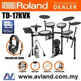 Roland TD-17KVX V-Drums Digital Drum Electronic Drum with Roland RH-300V Headphone, Kick Pedal, Drum Throne and Drumsticks
