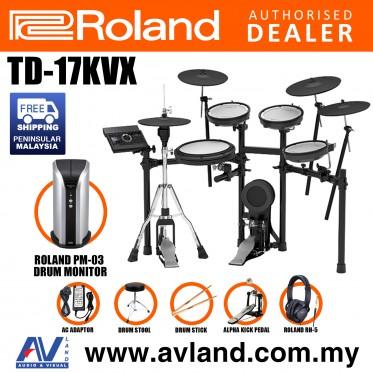 Roland TD-17KVX V-Drums Digital Drum Electronic Drum with Roland PM-03 Drum Monitor, RH-5 Headphone, Kick Pedal, Drum Throne and Drumsticks (TD17KVX / TD 17KVX)