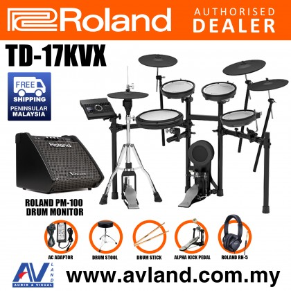 Roland TD-17KVX V-Drums Digital Drum Electronic Drum with PM-100 Amplifier, RH-5 Headphone, Kick Pedal, Drum Throne and Drumsticks (TD17KVX / TD 17KVX)
