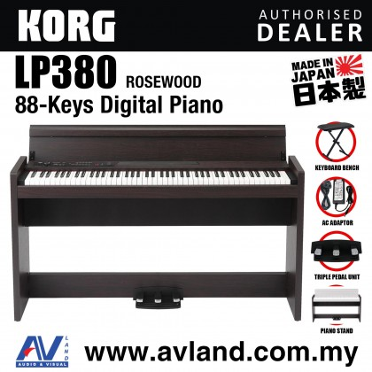 Korg LP-380 88-Key Digital Piano with Keyboard Bench - Rosewood (LP380)