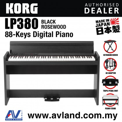 Korg LP-380 88-Key Digital Piano with Keyboard Bench - Black Rosewood (LP380)