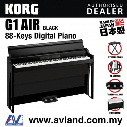 Korg G1 Air Digital Piano with Keyboard Bench - Black (G1AIR / G-1)