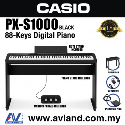 Casio Privia PX-S1000 88-key Digital Piano Keyboard With Piano Stand And Piano Bench - Black (PXS1000)