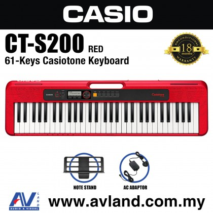 Casio CT-S200 61-Keys Casiotone Keyboard - Red (CTS200/CT S200)