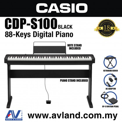 Casio CDP-S100 88-key Digital Piano with Piano Stand, Keyboard Bench and Sustain Pedal (CDPS100/CDP S100)
