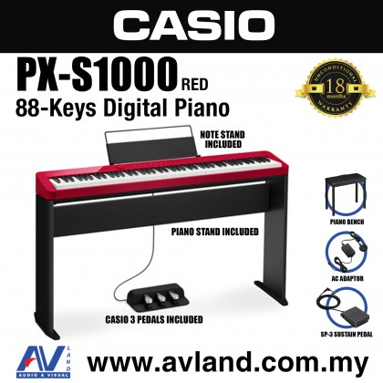 Casio Privia PX-S1000 88-key Digital Piano Keyboard With Piano Stand And Piano Bench - Limited Edition Red (PXS1000)