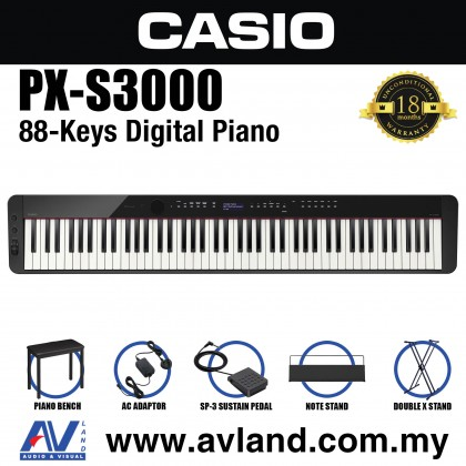 Casio Privia PX-S3000 88-key Digital Piano Keyboard With Keyboard Stand And Piano Bench - Black (PXS3000)