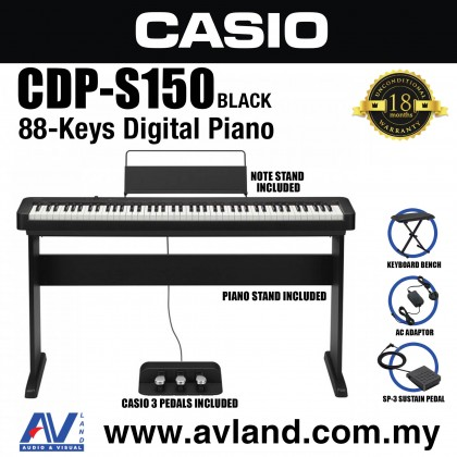 Casio CDP-S150 88-key Digital Piano With Piano Stand And Keyboard Bench (CDPS150/CDP S150)