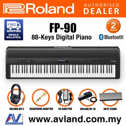 Roland FP-90 88-key Portable Digital Piano with FREE RH-5 Headphone - Black (FP90 FP 90)