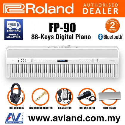 Roland FP-90 88-key Portable Digital Piano with FREE RH-5 Headphone - White (FP90 FP 90)