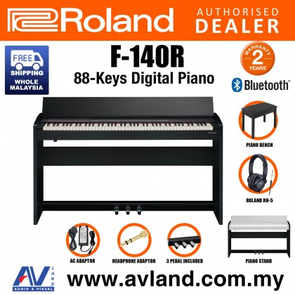 Roland F-140R 88-key Digital Piano with FREE RH-5 Headphone - Contemporary Black (F140R F 140R)