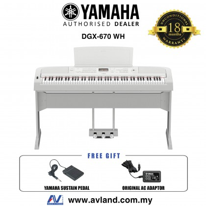 Yamaha DGX-670 88-Keys Portable Grand Digital Piano - White (DGX670 / DGX 670) *Crazy Sales Promotion*